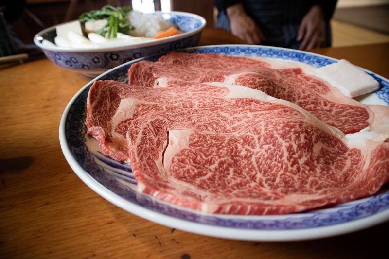 松阪牛のすき焼き。